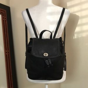 """Coach """"Park"""" F 24385 Black Leather Backpack"""
